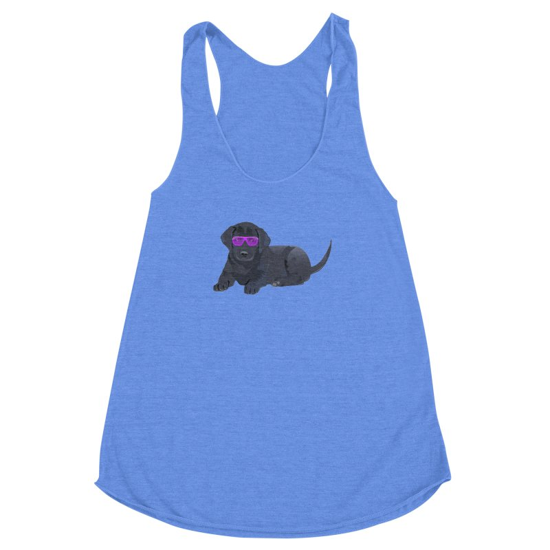 Black Lab Puppy with Purple Glasses Women's Racerback Triblend Tank by 2Dyzain's Artist Shop