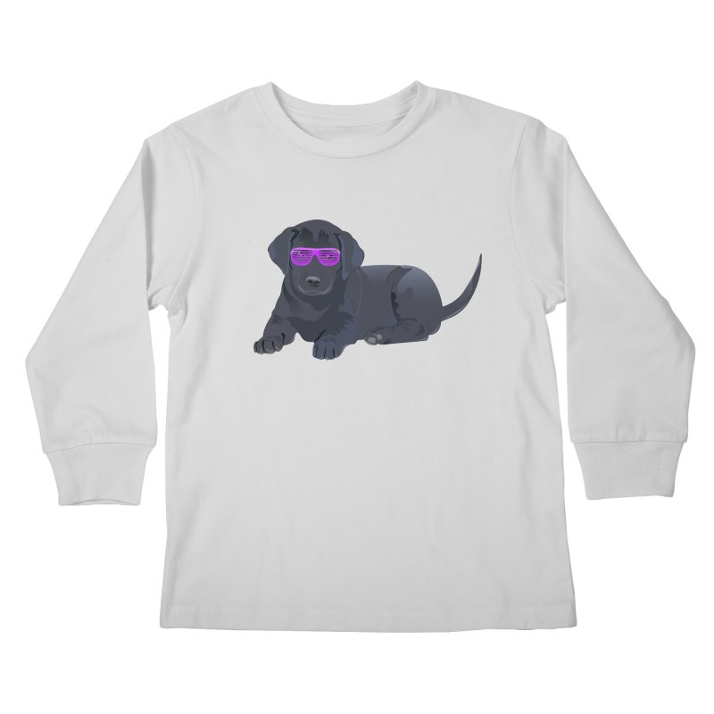 Black Lab Puppy with Purple Glasses Kids Longsleeve T-Shirt by 2Dyzain's Artist Shop
