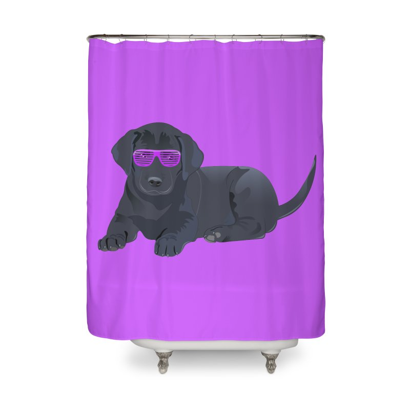 Black Lab Puppy with Purple Glasses Home Shower Curtain by 2Dyzain's Artist Shop