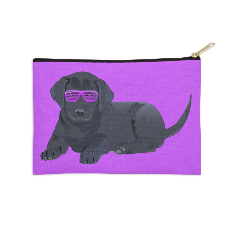 Black Lab Puppy with Purple Glasses Accessories Zip Pouch by 2Dyzain's Artist Shop