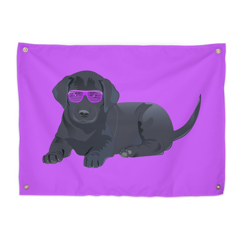 Black Lab Puppy with Purple Glasses Home Tapestry by 2Dyzain's Artist Shop