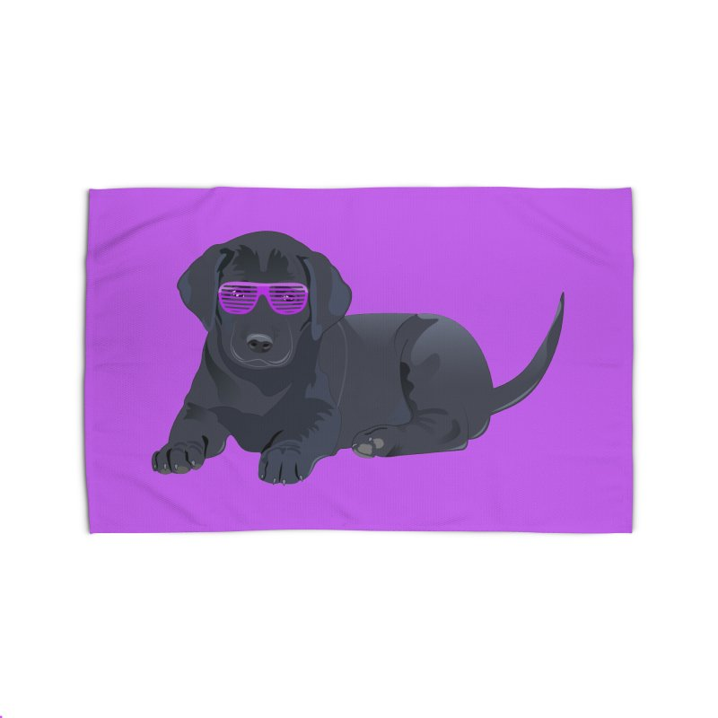 Black Lab Puppy with Purple Glasses Home Rug by 2Dyzain's Artist Shop