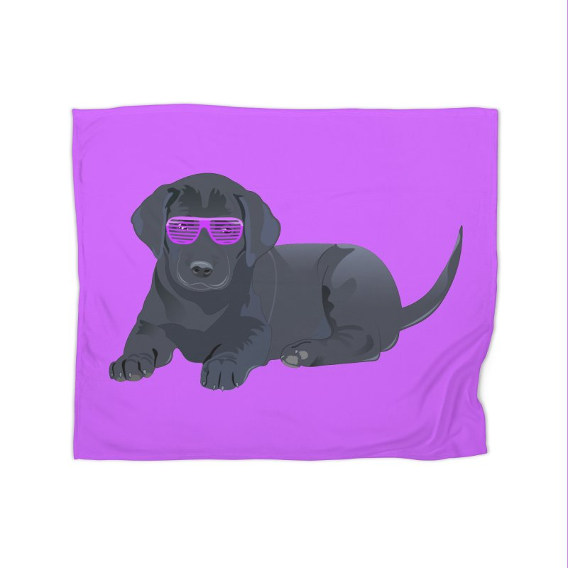 Black Lab Puppy with Purple Glasses Home Blanket by 2Dyzain's Artist Shop