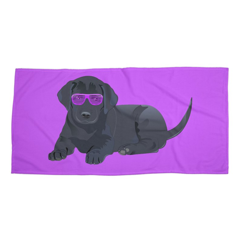Black Lab Puppy with Purple Glasses Accessories Beach Towel by 2Dyzain's Artist Shop