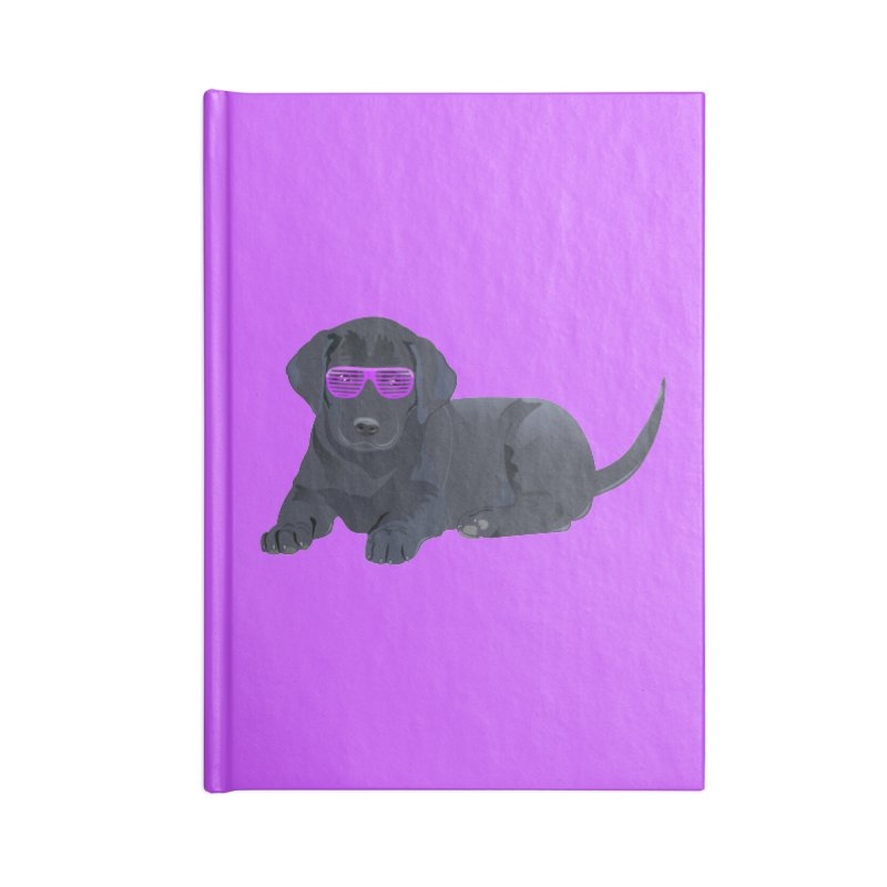 Black Lab Puppy with Purple Glasses Accessories Notebook by 2Dyzain's Artist Shop
