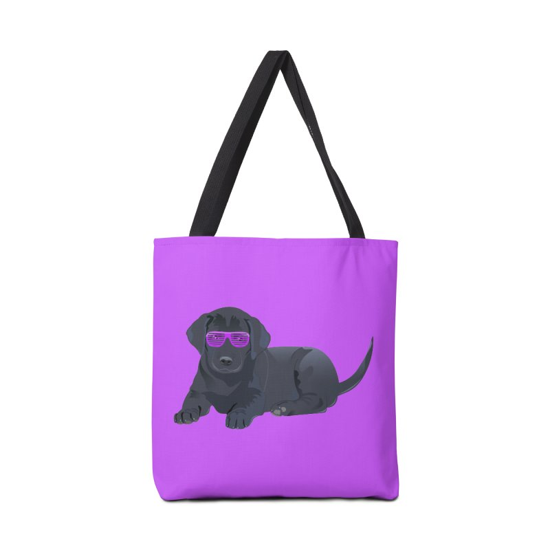 Black Lab Puppy with Purple Glasses Accessories Bag by 2Dyzain's Artist Shop