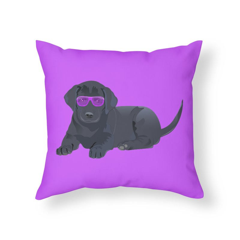 Black Lab Puppy with Purple Glasses Home Throw Pillow by 2Dyzain's Artist Shop