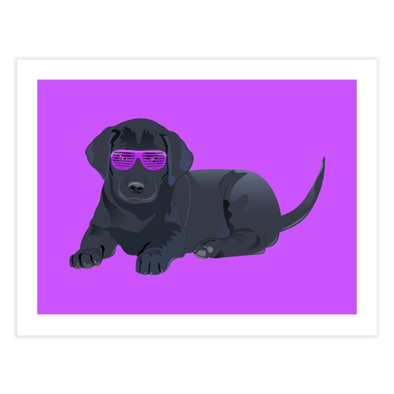 Black Lab Puppy with Purple Glasses Home Fine Art Print by 2Dyzain's Artist Shop
