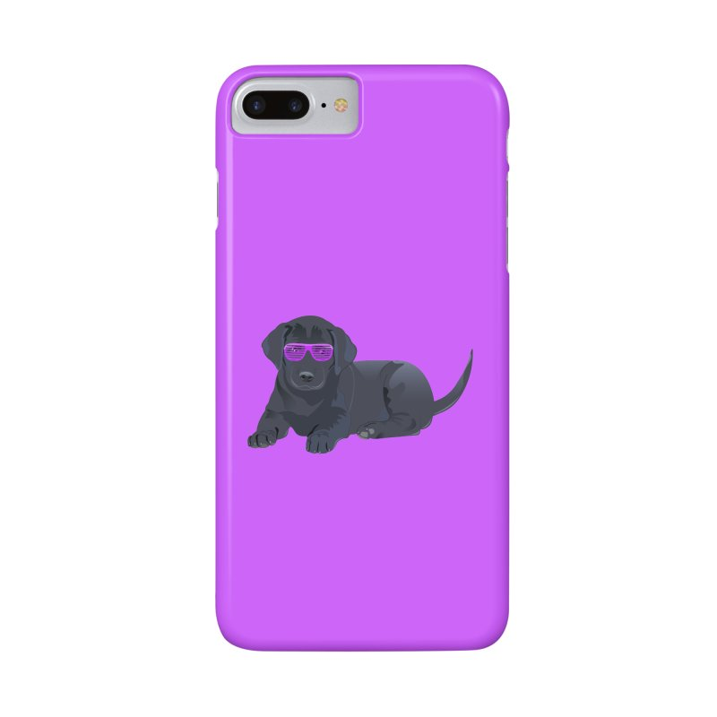 Black Lab Puppy with Purple Glasses Accessories Phone Case by 2Dyzain's Artist Shop