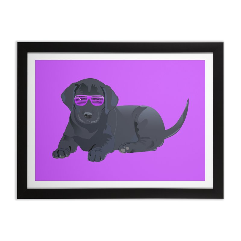 Black Lab Puppy with Purple Glasses Home Framed Fine Art Print by 2Dyzain's Artist Shop