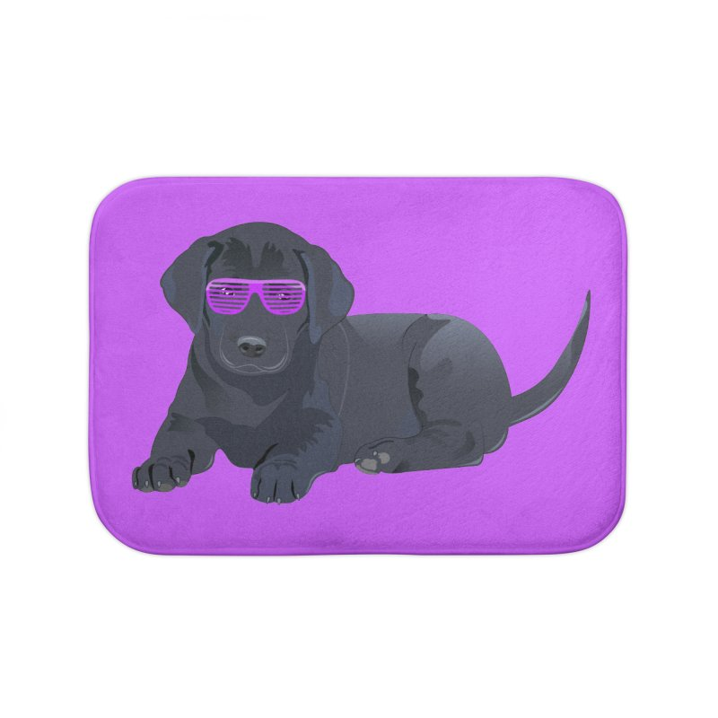 Black Lab Puppy with Purple Glasses Home Bath Mat by 2Dyzain's Artist Shop