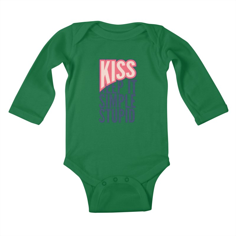 KISS - Keep It Simple Stupid Kids Baby Longsleeve Bodysuit by 2pxSolidBlack