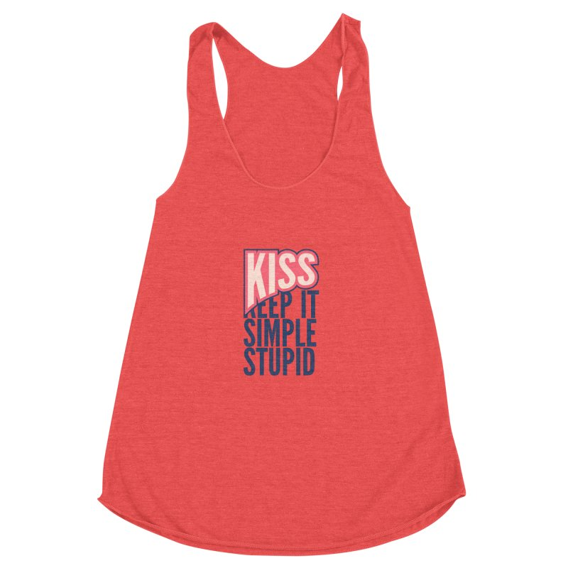 KISS - Keep It Simple Stupid Women's Racerback Triblend Tank by 2pxSolidBlack