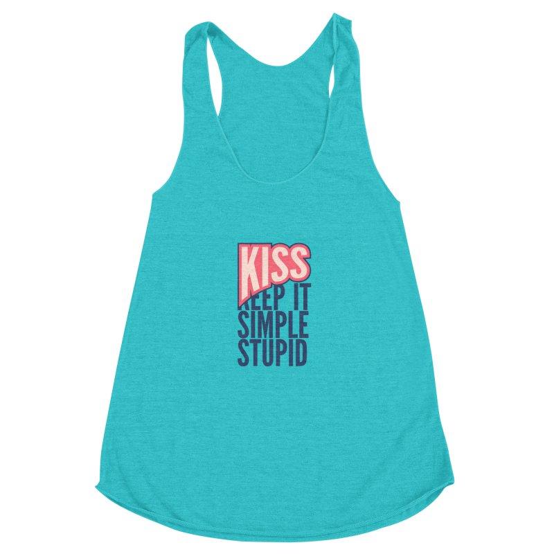 KISS - Keep It Simple Stupid Women's Racerback Triblend Tank by 2pxSolidBlack