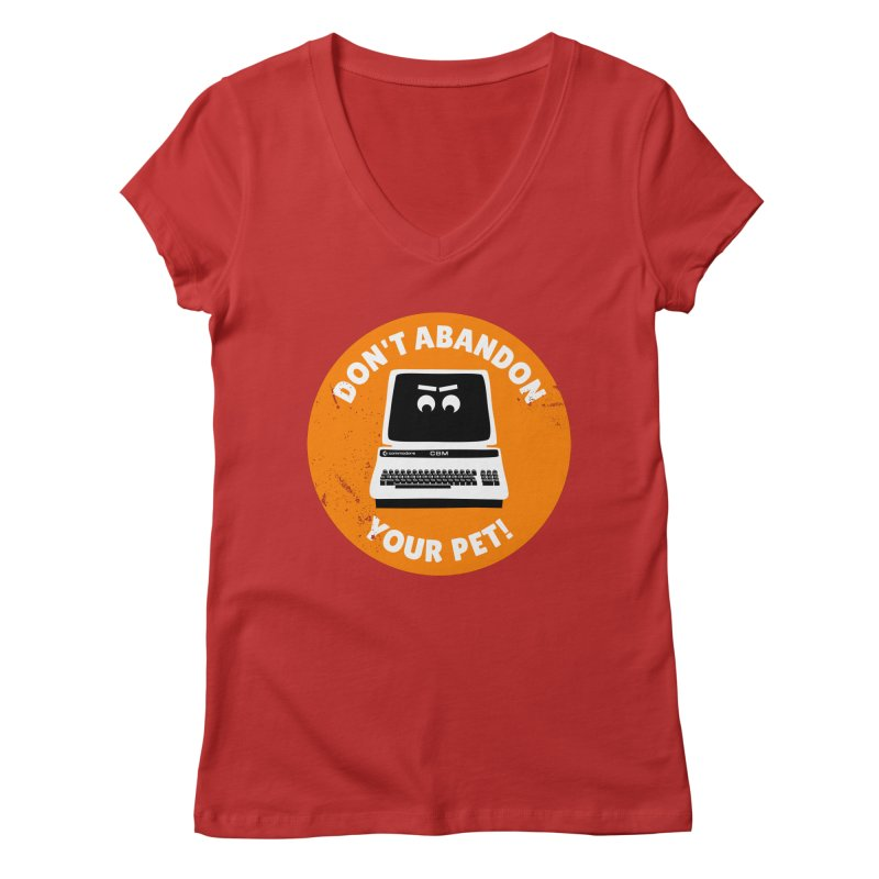 Don't abandon your (Commodore) PET Women's Regular V-Neck by 2pxSolidBlack