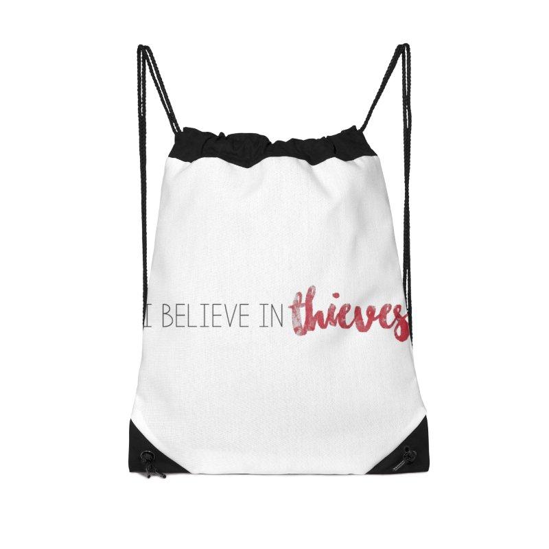 I Believe In Thieves Accessories Drawstring Bag Bag by Sharon Marta Essentials Shop