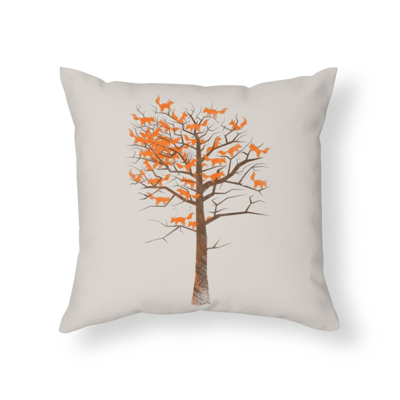 Blazing Fox Tree Home Throw Pillow by 38 Sunsets