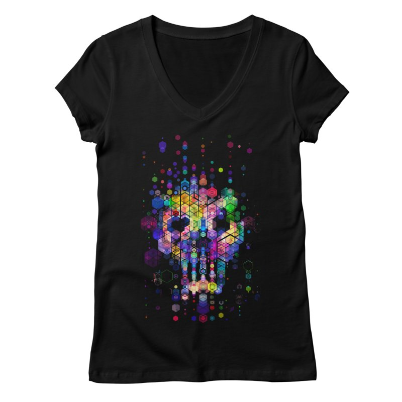 Monstrously Colorful Elementary Particles Women's V-Neck by 38 Sunsets