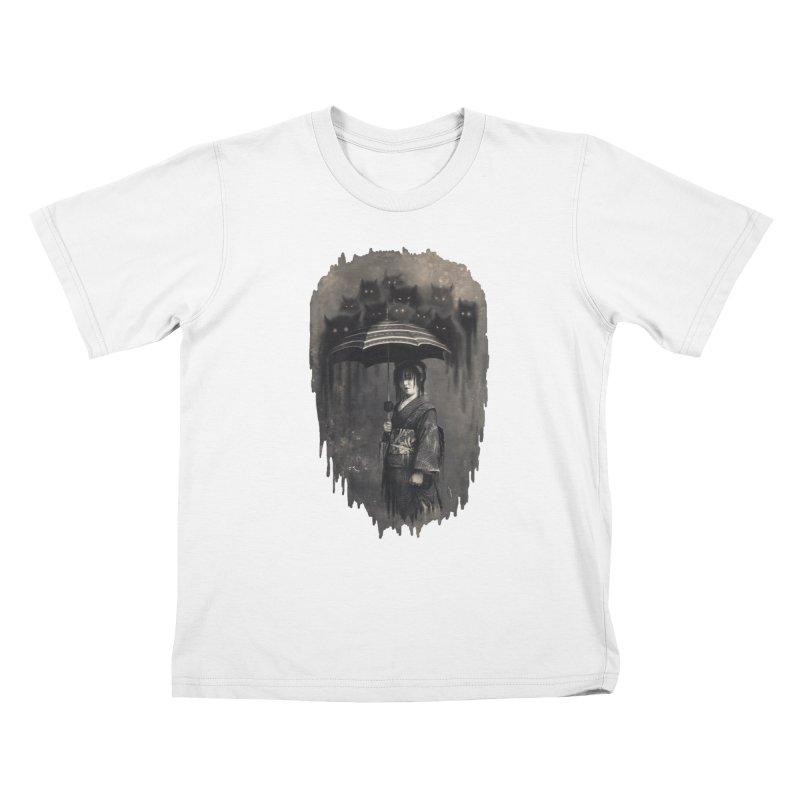 Lady Rain Kids T-Shirt by 38 Sunsets