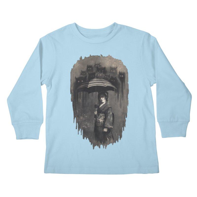 Lady Rain Kids Longsleeve T-Shirt by 38 Sunsets