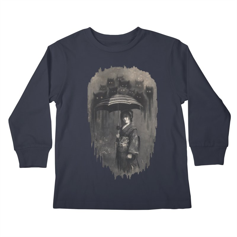 Lady Rain Kids Longsleeve T-Shirt by 38 Sunsets