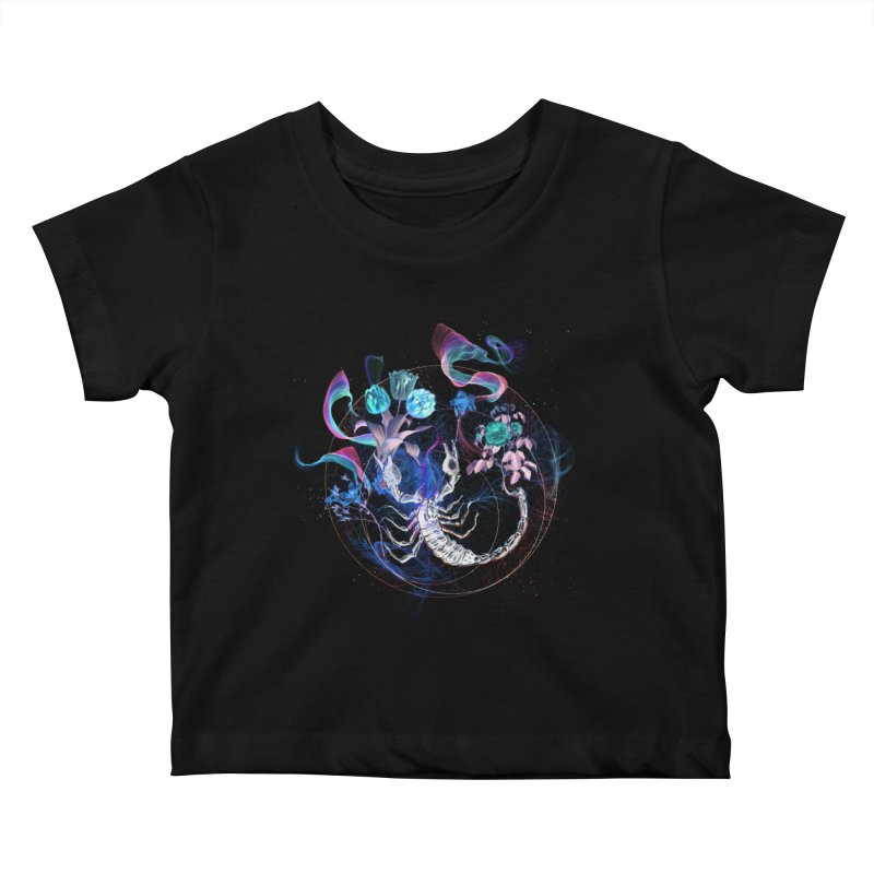 Acid Scorpion Kids Baby T-Shirt by 38 Sunsets