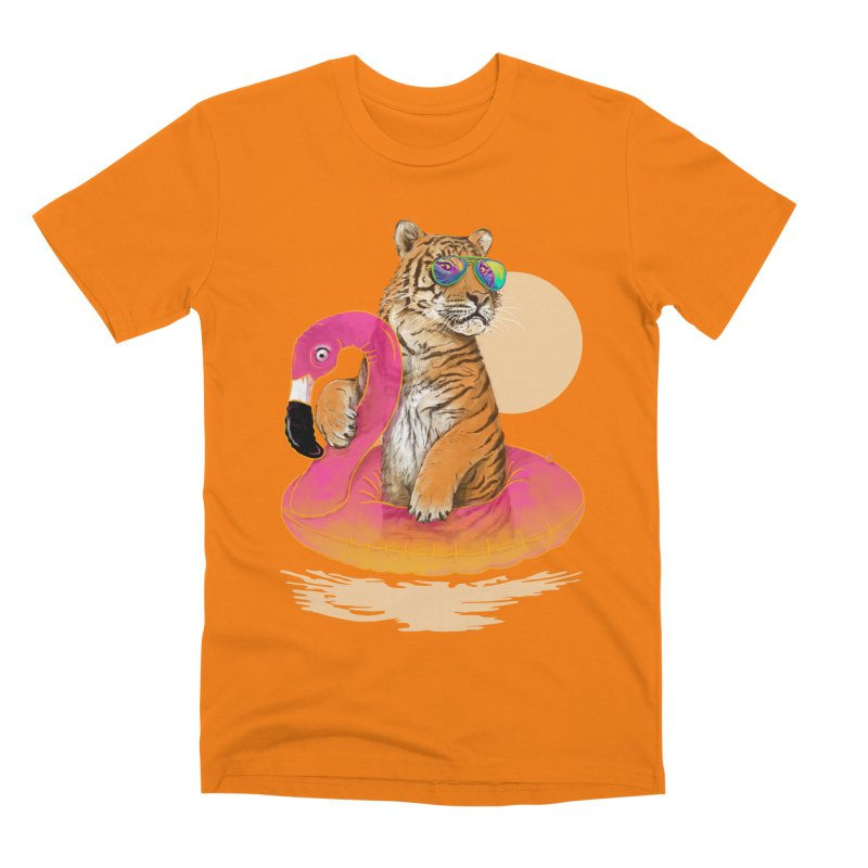 Chillin Flamingo Tiger Men's T-Shirt by 38 Sunsets