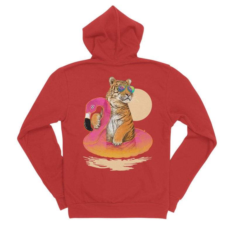 Chillin Flamingo Tiger Men's Zip-Up Hoody by 38 Sunsets