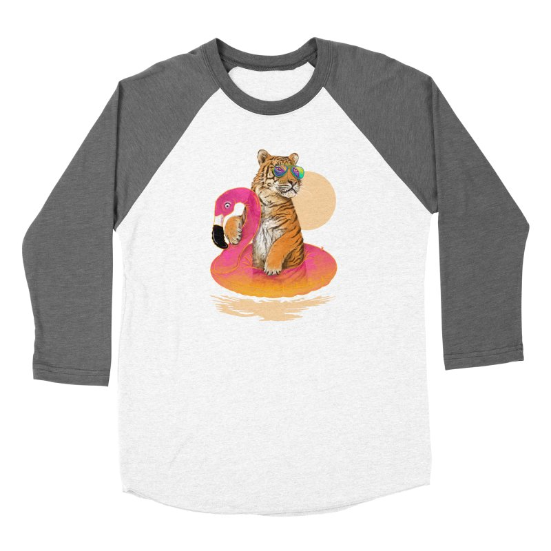 Chillin Flamingo Tiger Women's Baseball Triblend Longsleeve T-Shirt by 38 Sunsets