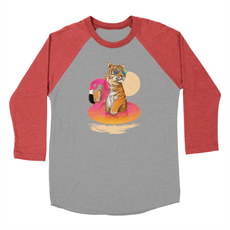 Chillin Flamingo Tiger Men's Baseball Triblend Longsleeve T-Shirt by 38 Sunsets