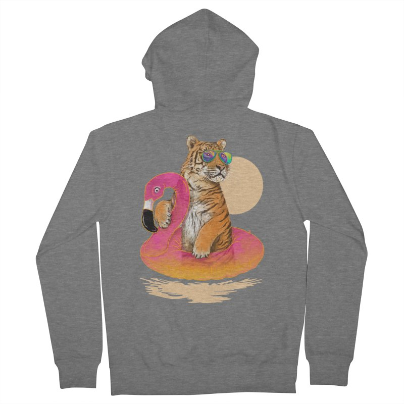 Chillin Flamingo Tiger Men's French Terry Zip-Up Hoody by 38 Sunsets