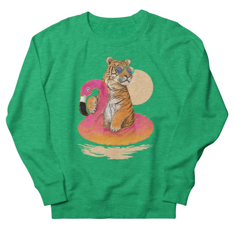 Chillin Flamingo Tiger Women's Sweatshirt by 38 Sunsets