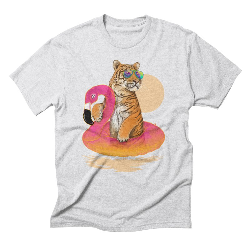 Chillin Flamingo Tiger Men's Triblend T-Shirt by 38 Sunsets