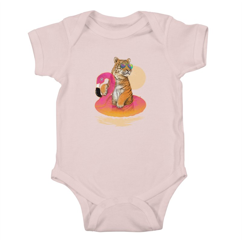 Chillin Flamingo Tiger Kids Baby Bodysuit by 38 Sunsets