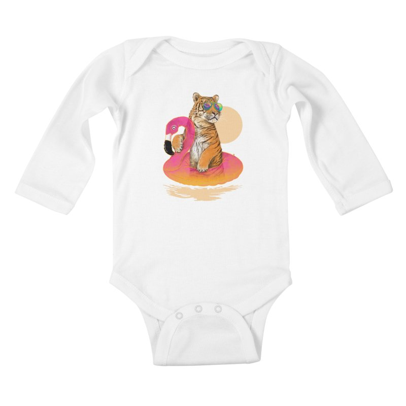Chillin Flamingo Tiger Kids Baby Longsleeve Bodysuit by 38 Sunsets