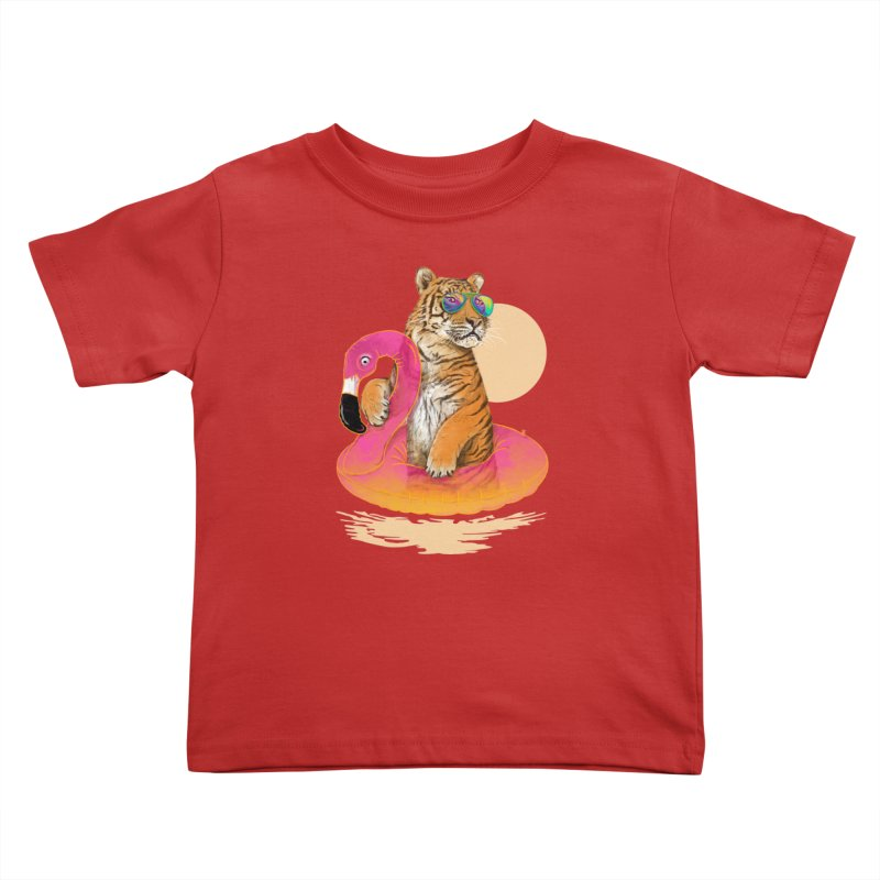 Chillin Flamingo Tiger Kids Toddler T-Shirt by 38 Sunsets