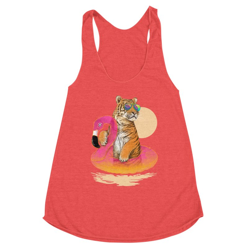 Chillin Flamingo Tiger Women's Tank by 38 Sunsets