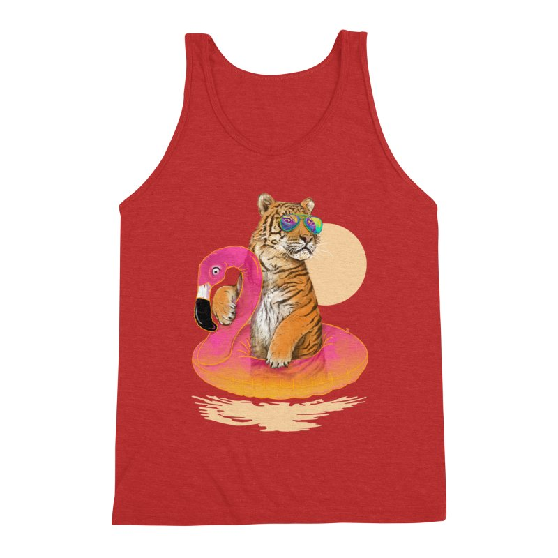 Chillin Flamingo Tiger Men's Triblend Tank by 38 Sunsets