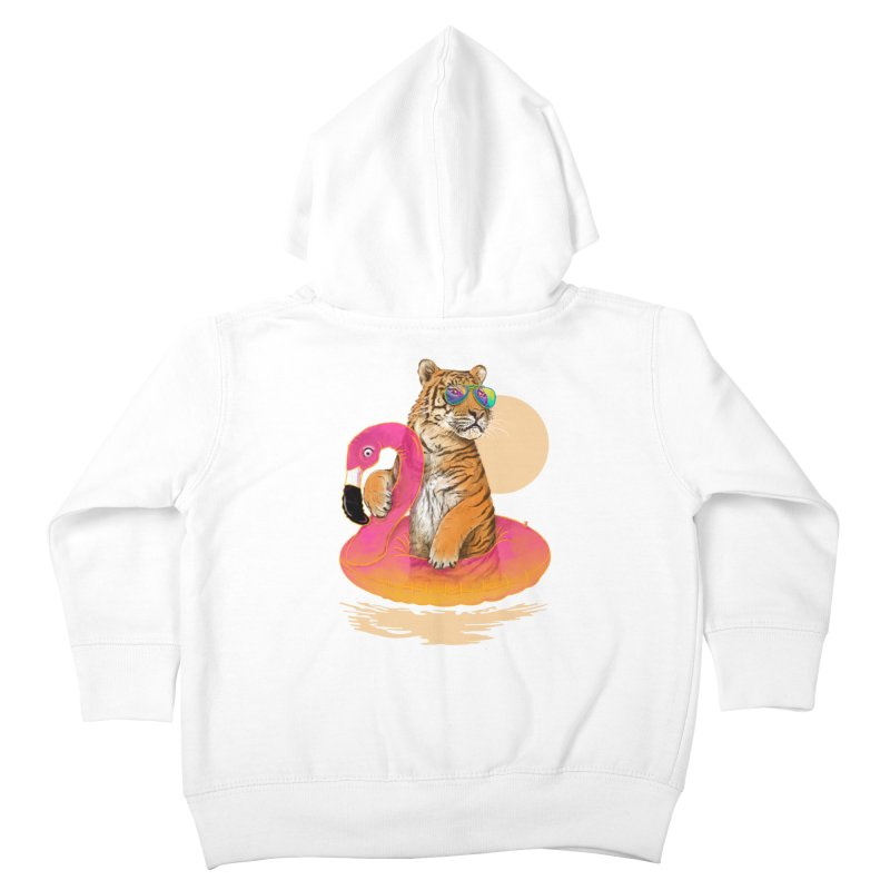 Chillin Flamingo Tiger Kids Toddler Zip-Up Hoody by 38 Sunsets