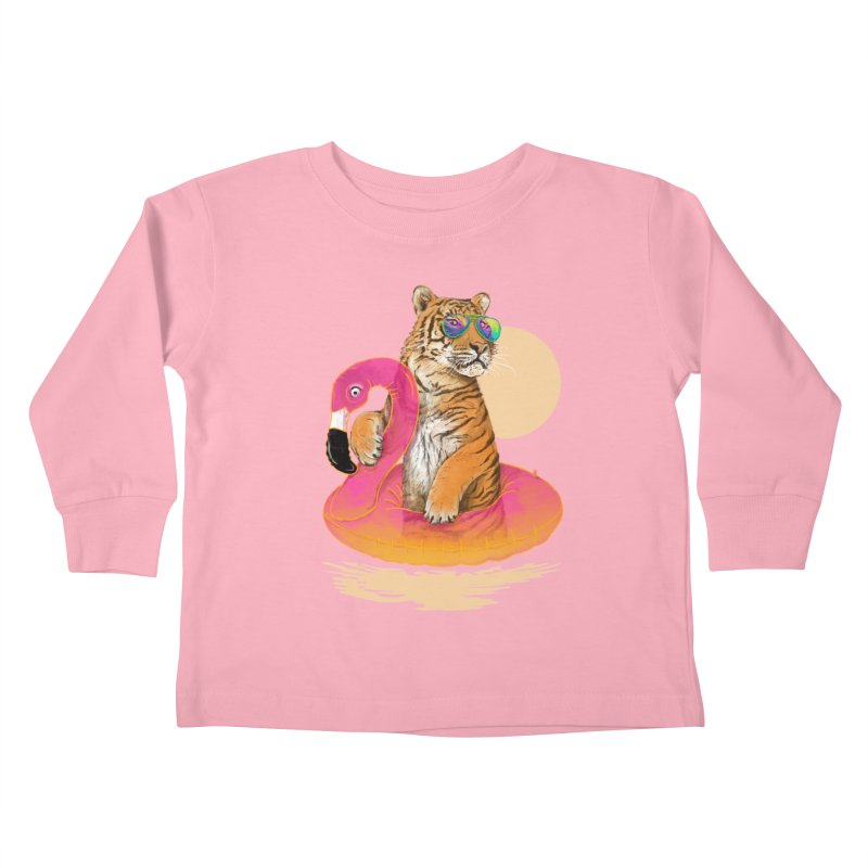Chillin Flamingo Tiger Kids Toddler Longsleeve T-Shirt by 38 Sunsets