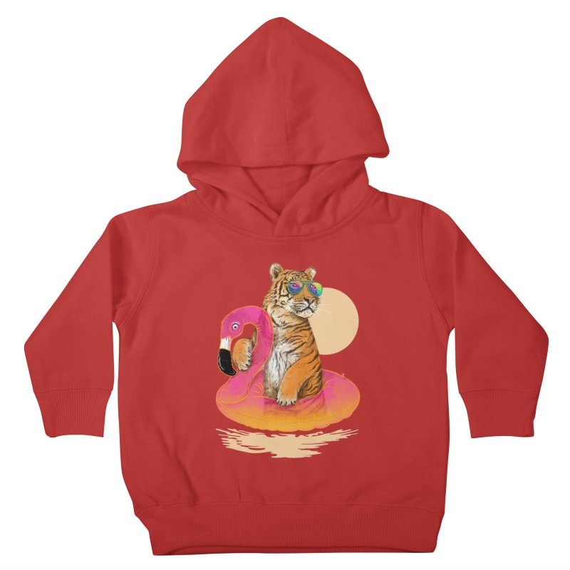 Chillin Flamingo Tiger Kids Toddler Pullover Hoody by 38 Sunsets