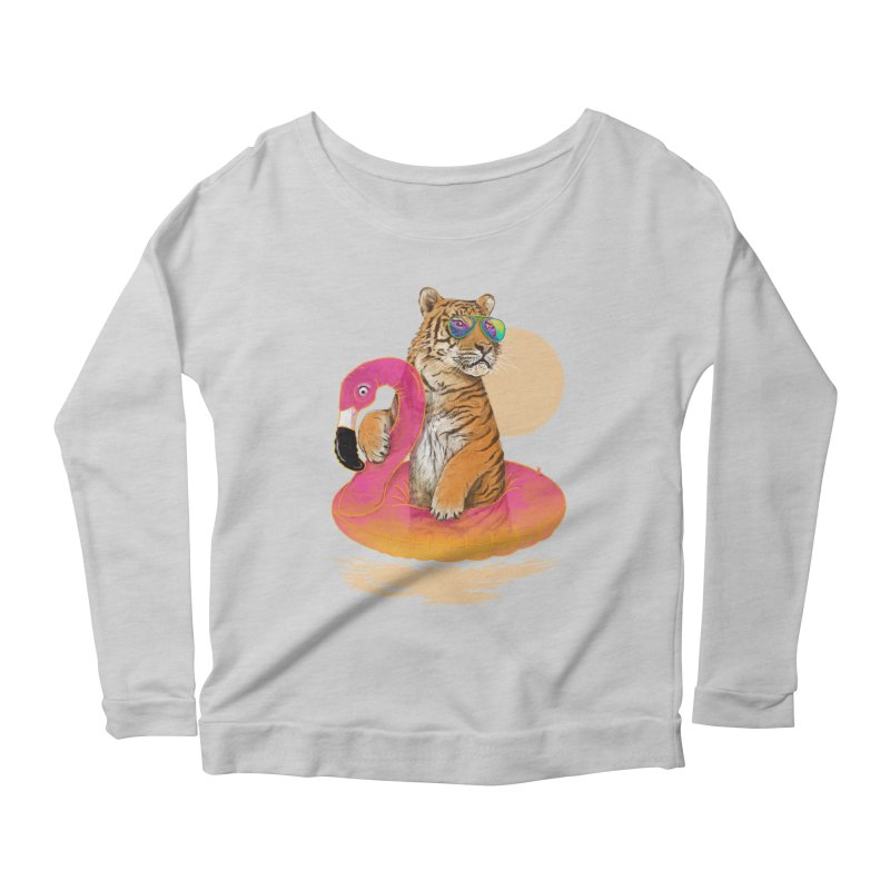 Chillin Flamingo Tiger Women's Scoop Neck Longsleeve T-Shirt by 38 Sunsets
