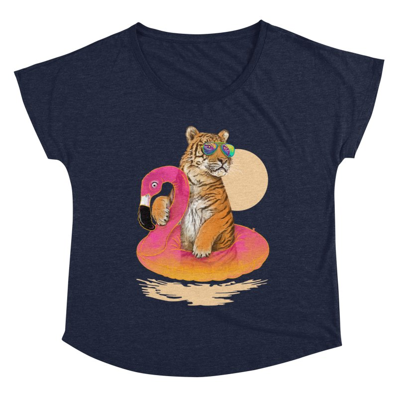 Chillin Flamingo Tiger Women's Dolman Scoop Neck by 38 Sunsets