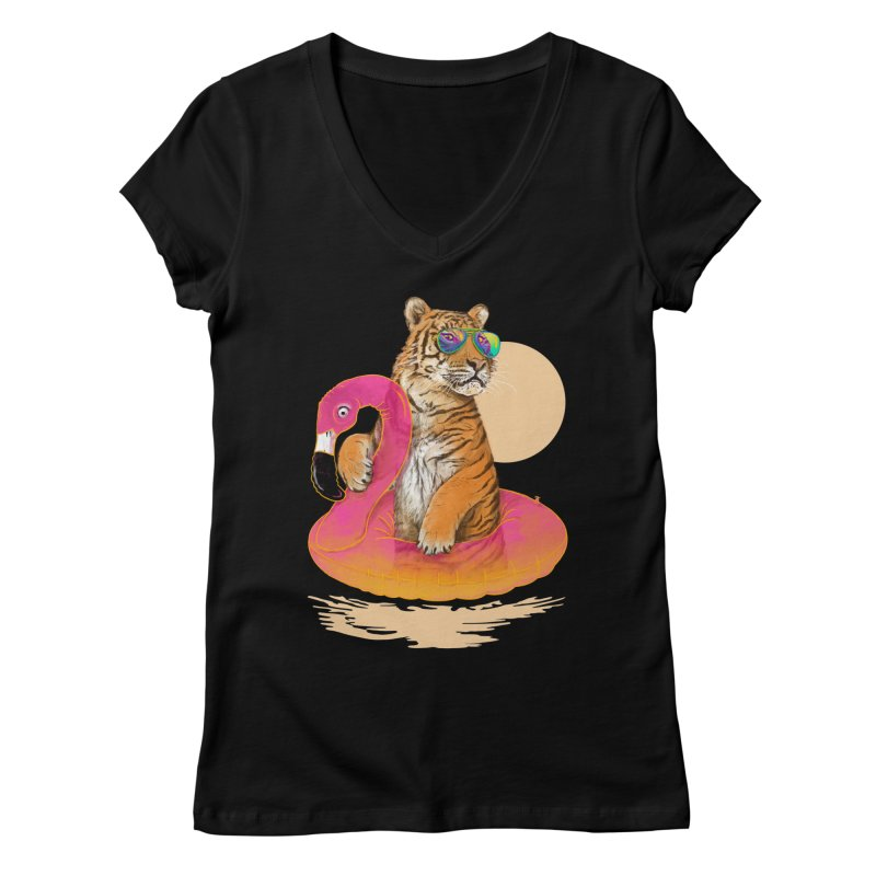 Chillin Flamingo Tiger Women's V-Neck by 38 Sunsets