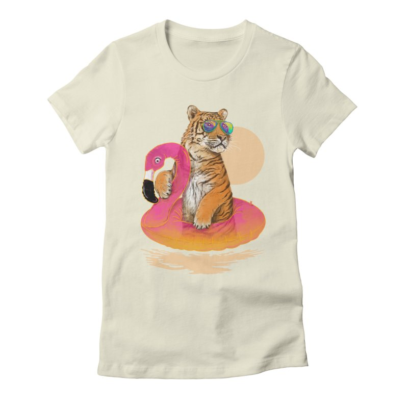 Chillin Flamingo Tiger Women's Fitted T-Shirt by 38 Sunsets