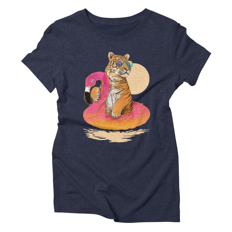 Chillin Flamingo Tiger Women's Triblend T-Shirt by 38 Sunsets