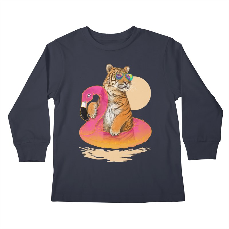 Chillin Flamingo Tiger Kids Longsleeve T-Shirt by 38 Sunsets