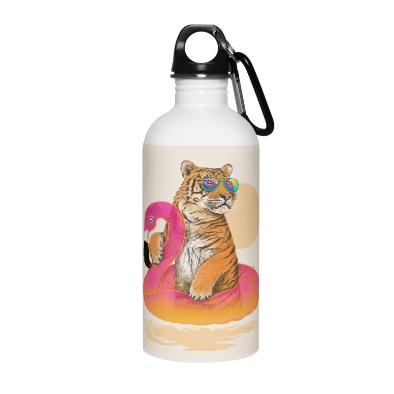 Chillin Flamingo Tiger Accessories Water Bottle by 38 Sunsets