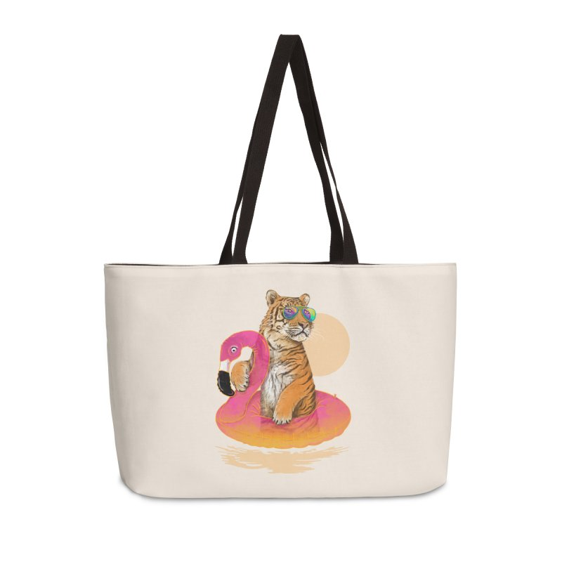 Chillin Flamingo Tiger Accessories Weekender Bag Bag by 38 Sunsets