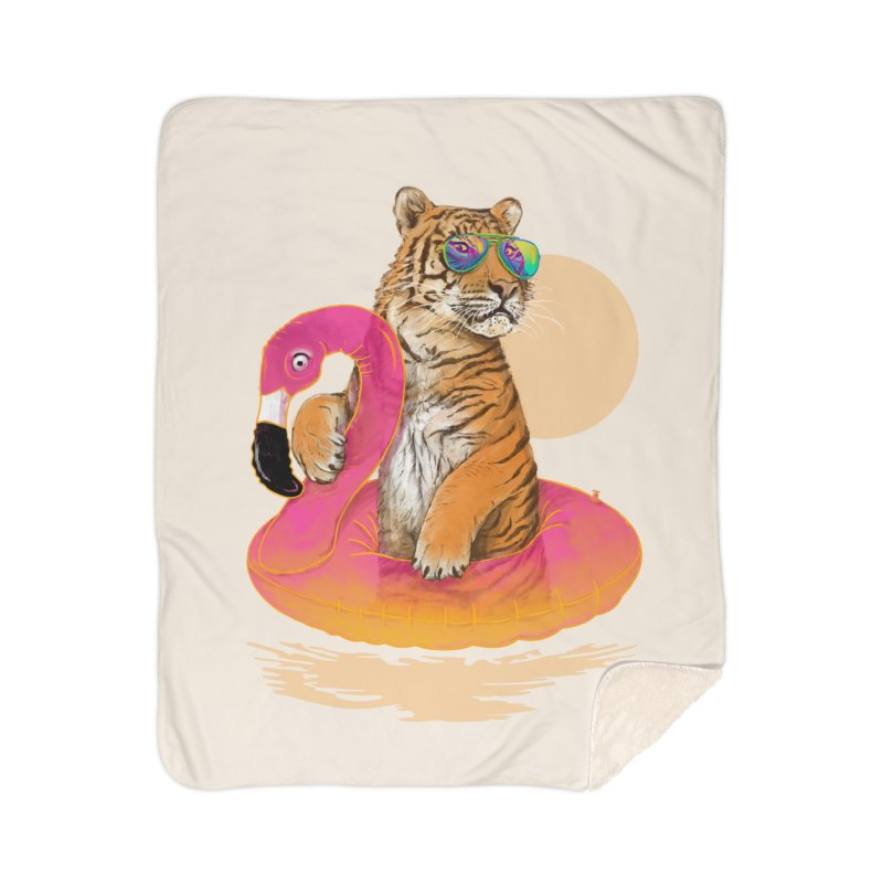Chillin Flamingo Tiger Home Sherpa Blanket Blanket by 38 Sunsets